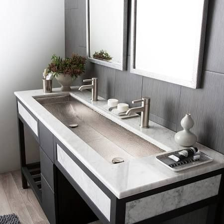 Undermount Trough Sink With Two Faucets