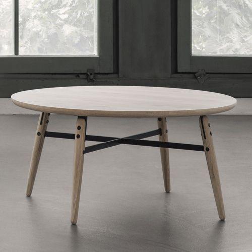 table basse ronde en bois ch ne naturel et m tal arne. Black Bedroom Furniture Sets. Home Design Ideas