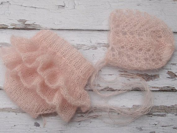 Photo of Newborn baby girl hand knitted Ruffled bloomers and bonnet/ Luxury yarn Photography Prop/ Mohair bloomers