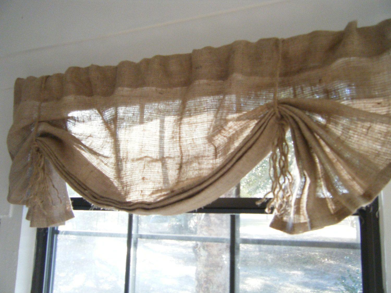 Burlap Window Valance 24 108 W X 14 L The Lil Hemingway In