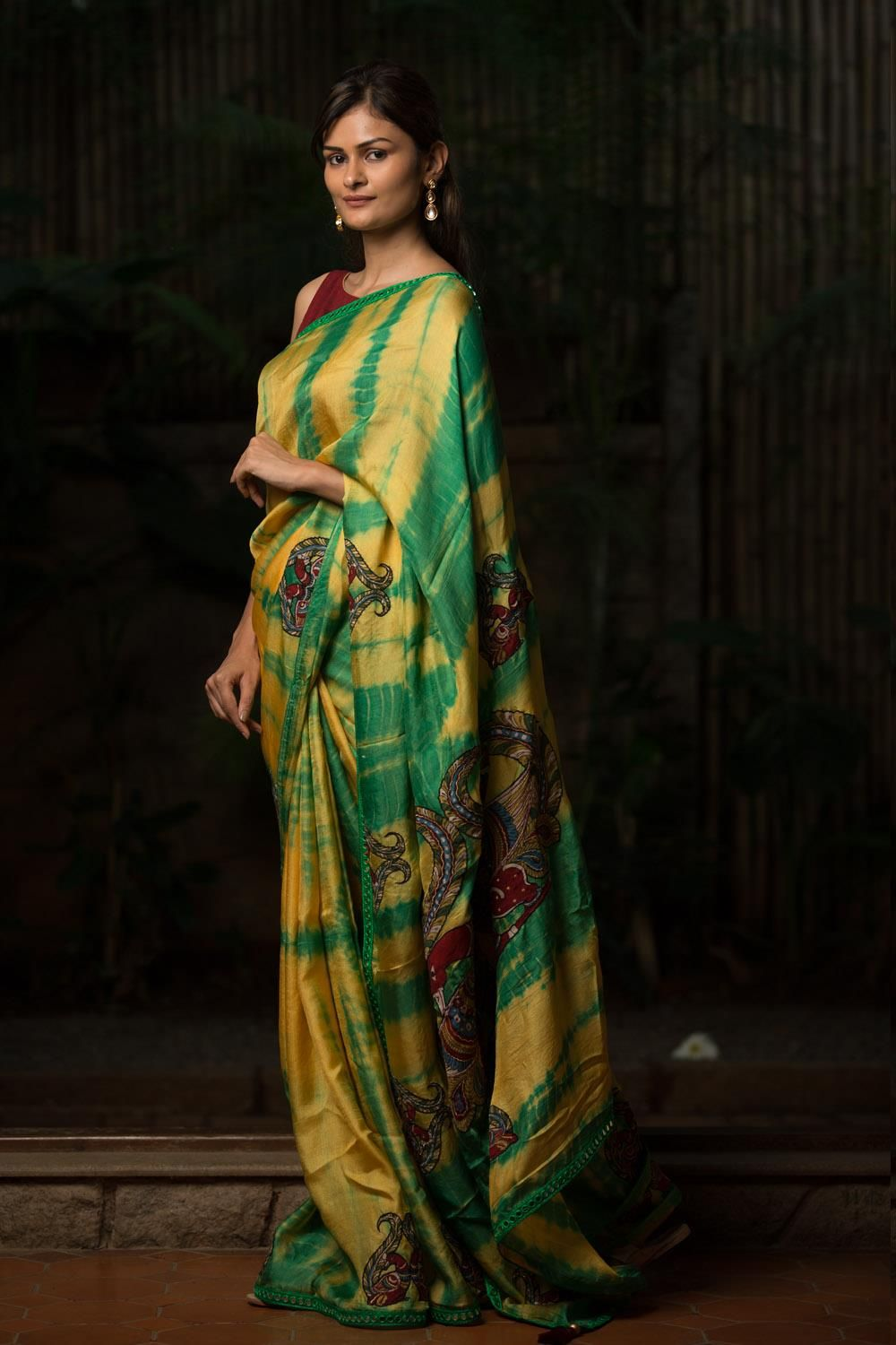 0d6c453ae2 Green and yellow shibori shaded jute georgette saree with mirror work  border and handpainted kalamkari appliques #saree #blouse #houseofblouse  #indian ...