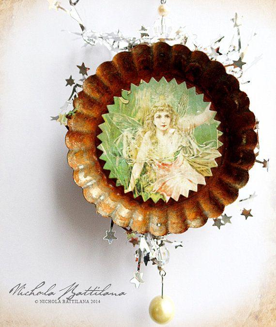 Green Fairy Altered Tart Tin - A rusty rustic ornament