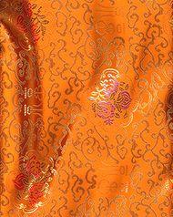Chinese Brocade Fabric, Heavenly Gate Orange