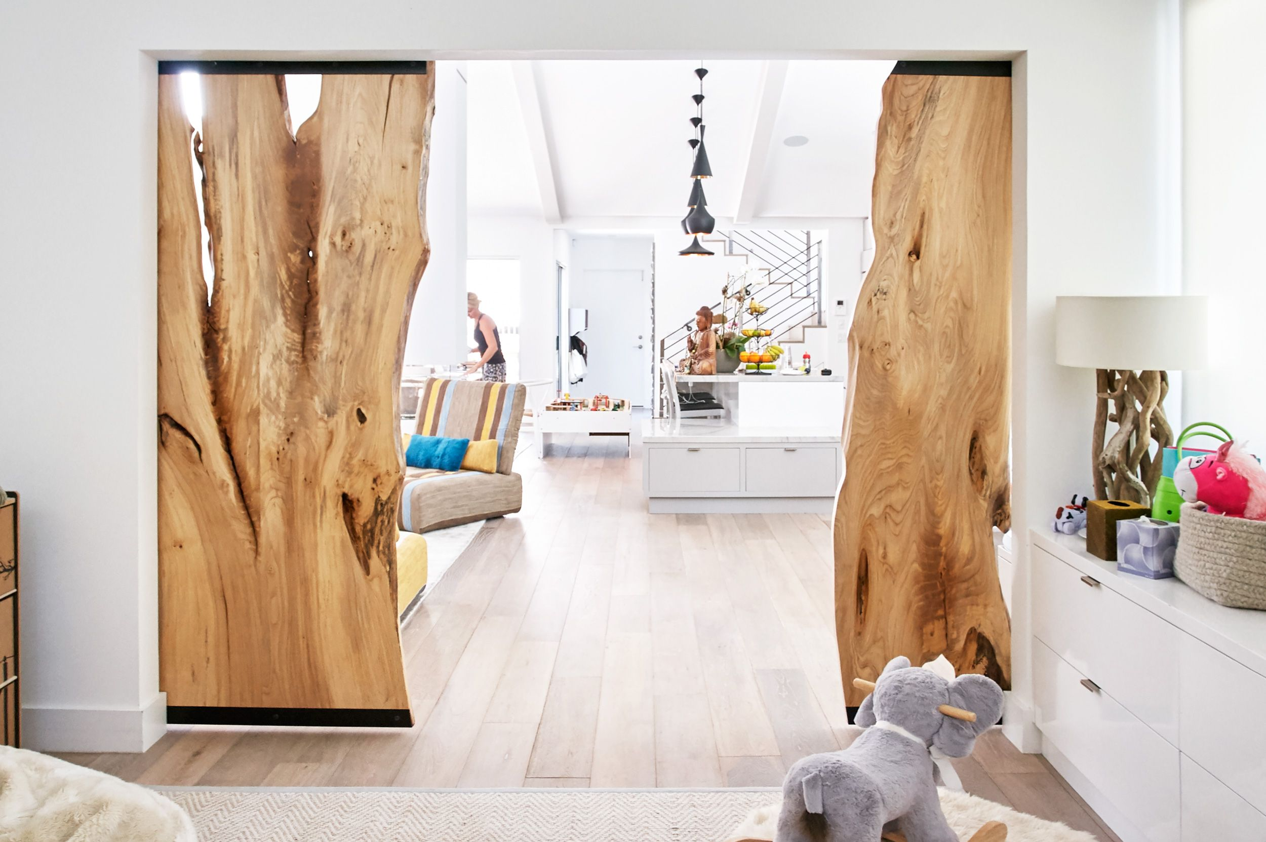 custom American elm barn doors in finished application #UrbanHardwoods #SalvagedWood #custom & custom American elm barn doors in finished application ...