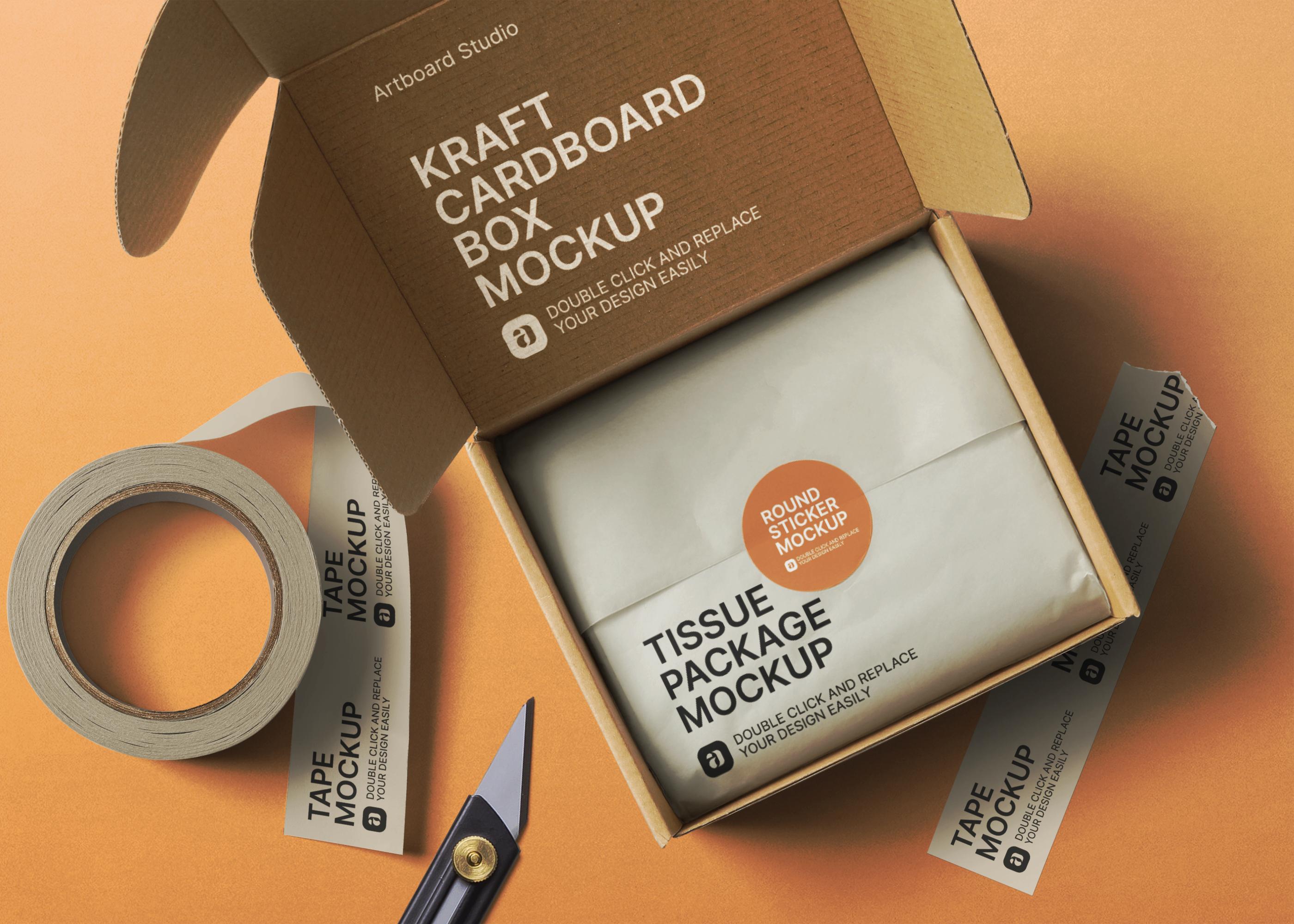 Download Kraft Cardboard Box Package Mockup Scene Box Packaging Templates Box Packaging Kraft Box Packaging
