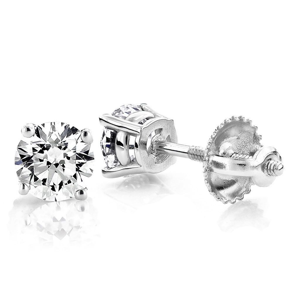 tcw g white mens stud earring single ct s h p gold solitaire diamond