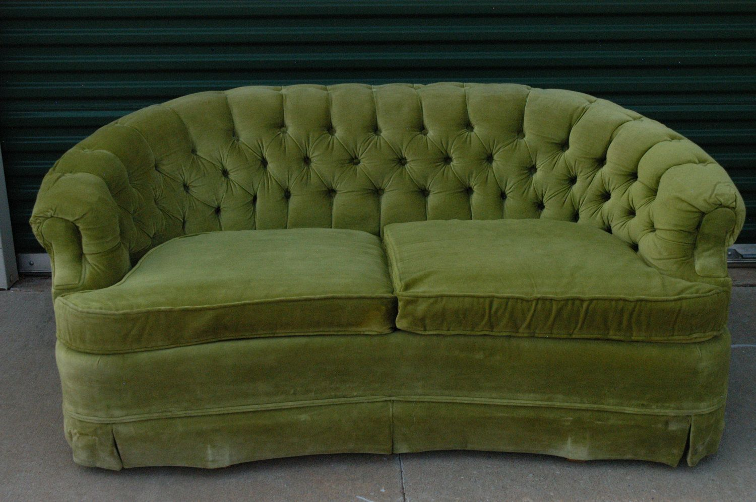 Vintage Lime Green Loveseat Sofa By Broyhill Tufted Velour - Broyhill conversation sofa leather