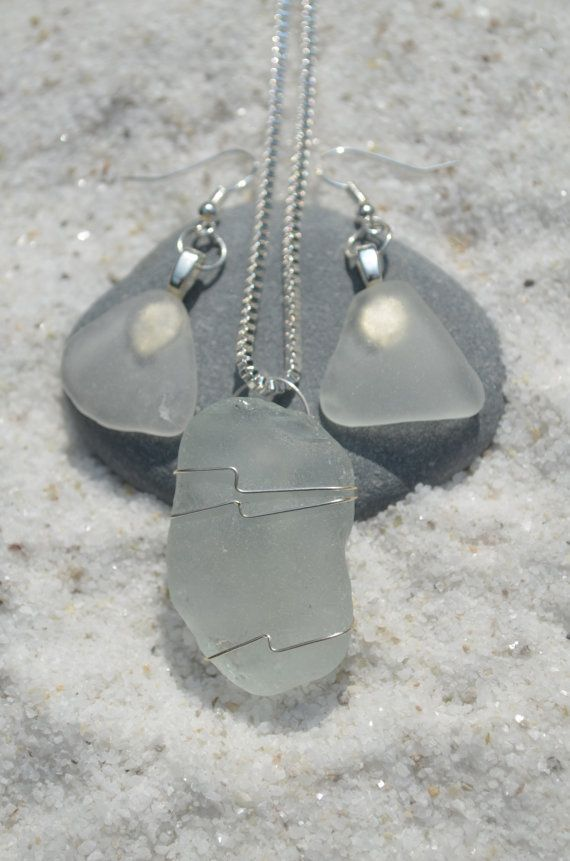 Frosted Sea Glass Sterling Silver Necklace and by DejaVuDesignz