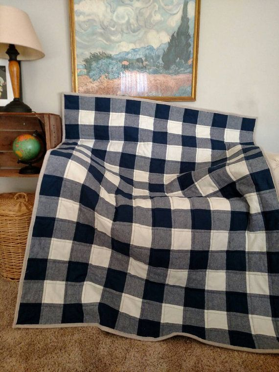 Buffalo Check Toddler Quilt Navy And Cream Buffalo Check Quilt Large Gingham Toddler Quilt Made To Order Gingham Quilt Buffalo Check Quilt Toddler Quilt