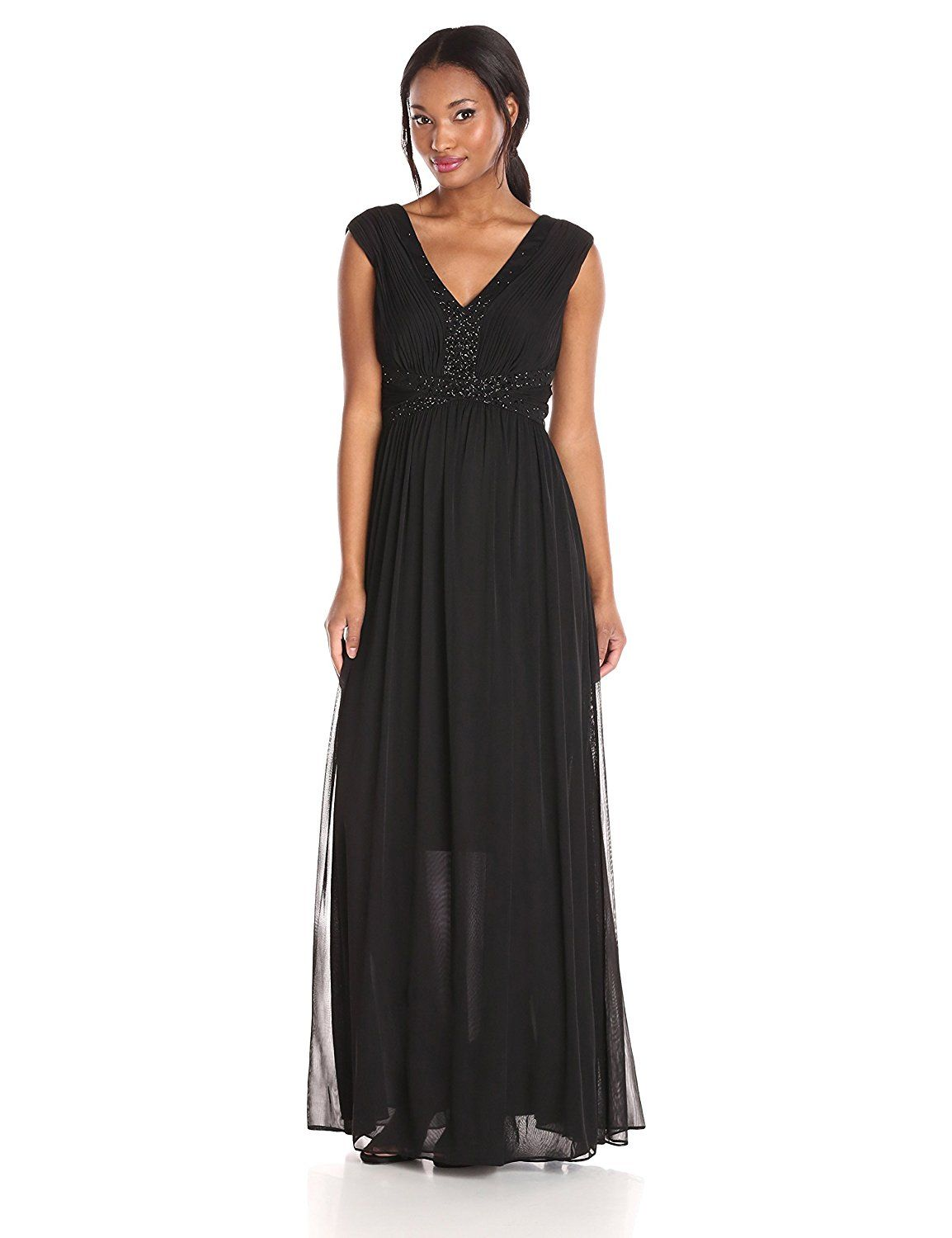 Js boutique womenus matte jersey chiffon gown with beaded