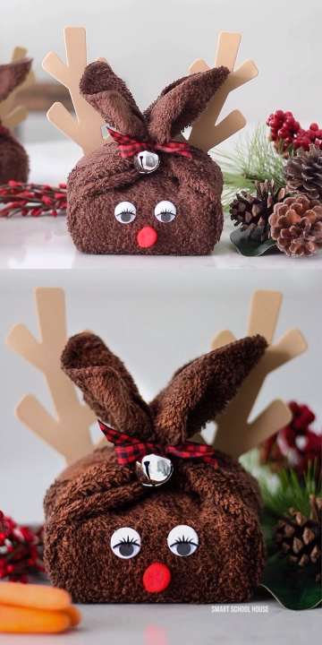Washcloth Reindeer -   inexpensive diy Christmas Decorations