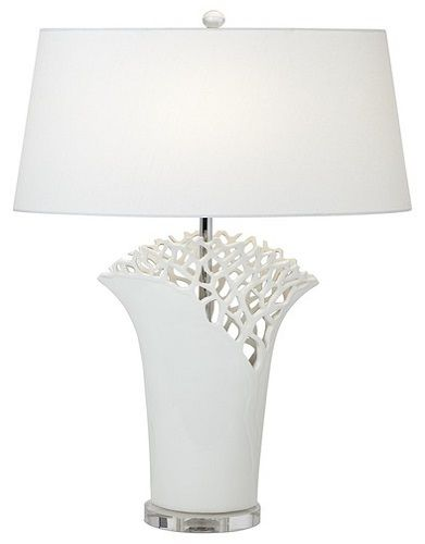 Superb White Coral Oval Contemporary Table Lamp By Possini Euro   Home Design Ideas