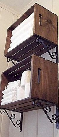 make bathroom shelves from wooden crates | Build bathroom storage out of wooden crates! | Home