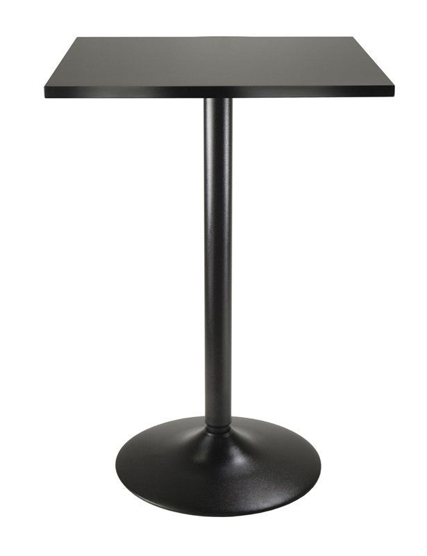 Winsome Wood 20522 Pub Table Square Black MDF Top with Black leg and base
