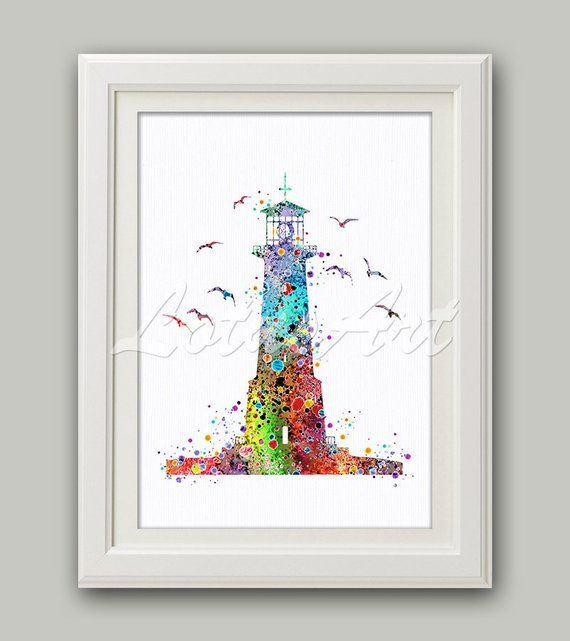 Colorful Lighthouse Wall Art Lighthouse Watercolor Print Nautical Nursery  Nautical Art Kids Room Decor Nautical Painting Ocean Wall Art