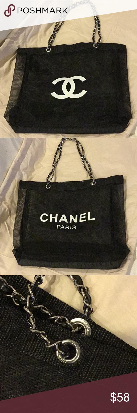 806071081085 Chanel VIP Mesh Tote Chain Bag Brand New Chanel VIP Gift Black Mesh Tote Bag  Shopping