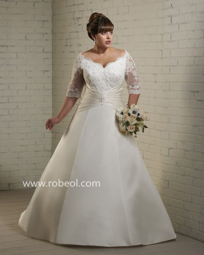 robe de mari e grande taille perle en satin mariage