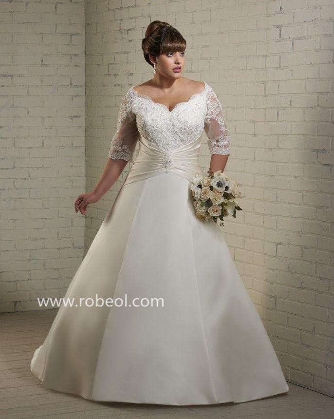 robe de mari e grande taille perle en satin mariage ForConcepteurs De Robe De Mariage Australien En Ligne