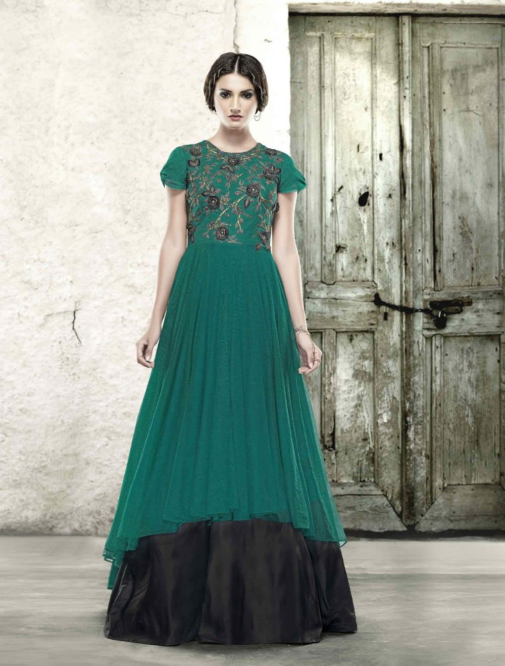buy saree online Rama Green Colour Net Embroidered Work With Party ...