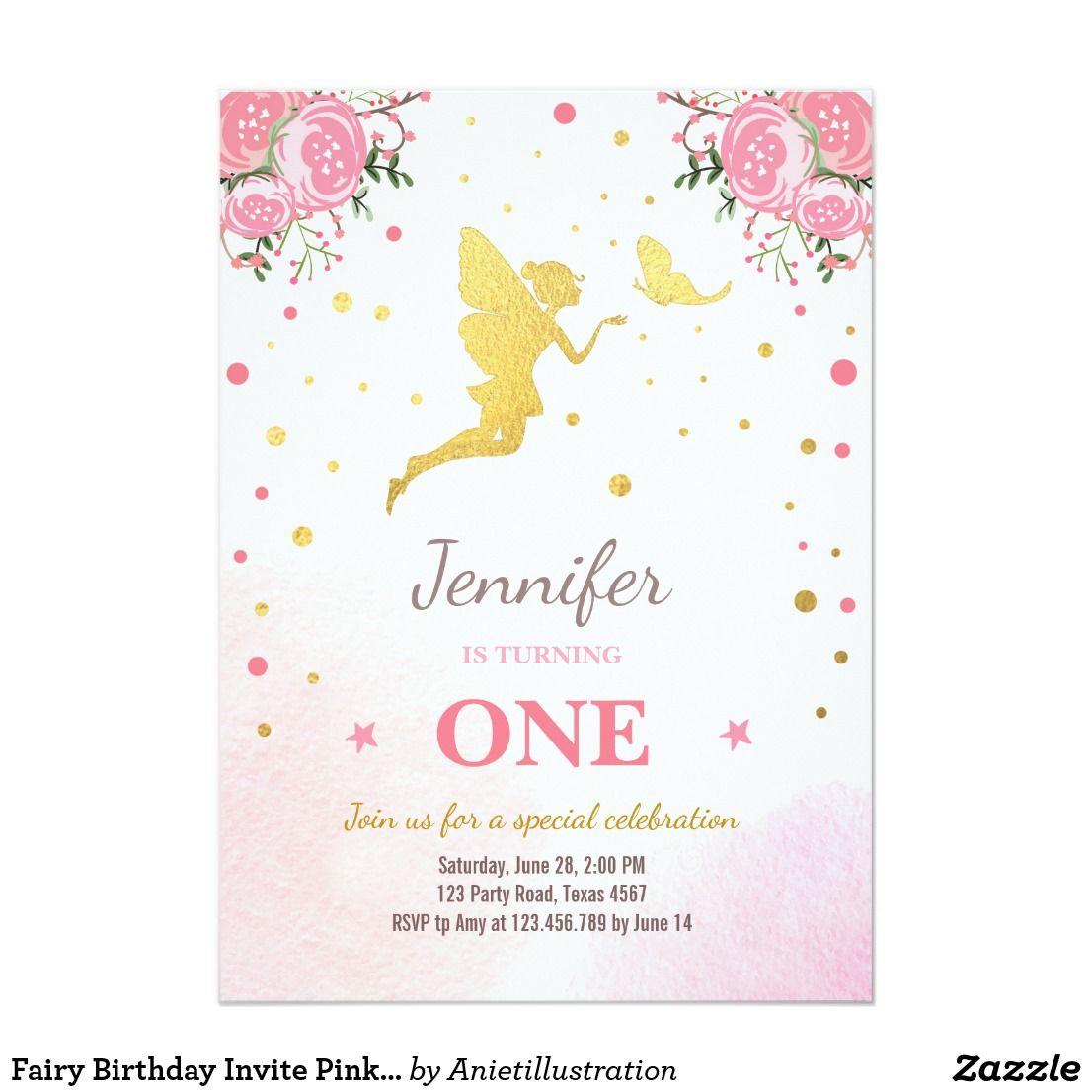 Fairy Birthday Invite Pink Gold Magical Whimsical | Fairy birthday