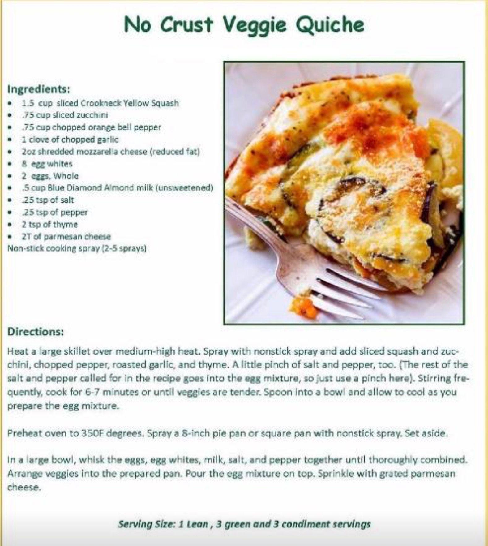 no crust veggie quiche | ideal protein recipes, delicious