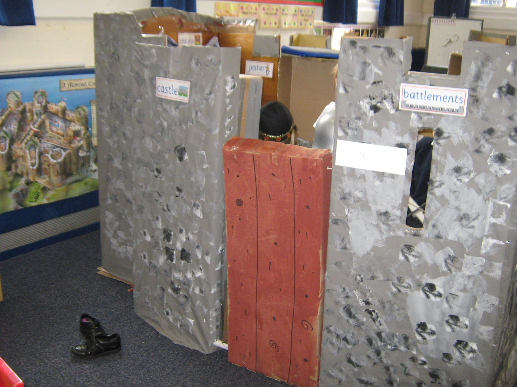 castle role play area made from cardboard boxes. | castles