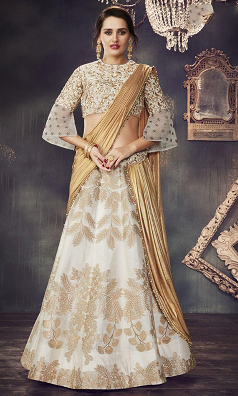 d4e4664e59 Shop this stunning #White and #Gold #Designer Wear #Lehenga #Saree (SKU  Code : LEHEVSD4718) Online at IshiMaya Fashion.