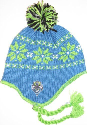 Seattle Sounders Tassel Ball Top Mongolian Style MLS Knit Adidas Beanie  (Blue) by adidas c5fa99a792a