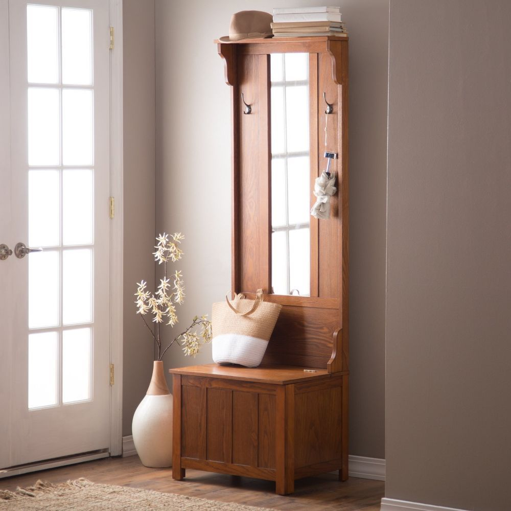 Brown Slim Storage Bench Hall Tree Indoor Home Living Entryway Furniture Mirror Finley 315 With Free Shipping