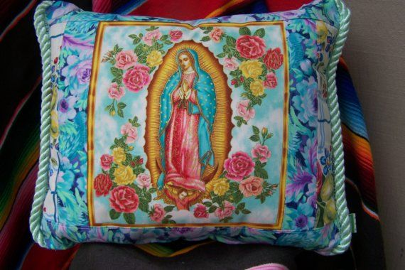 VIRGEN DE GUADALUPE Roses MEXICAN FABRIC PILLOW