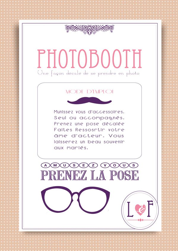 affiche photobooth a imprimer texte pinterest affiches mariages et id e mariage. Black Bedroom Furniture Sets. Home Design Ideas