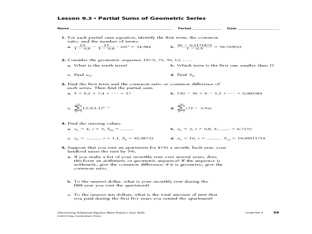 Numerical Sequences Worksheet