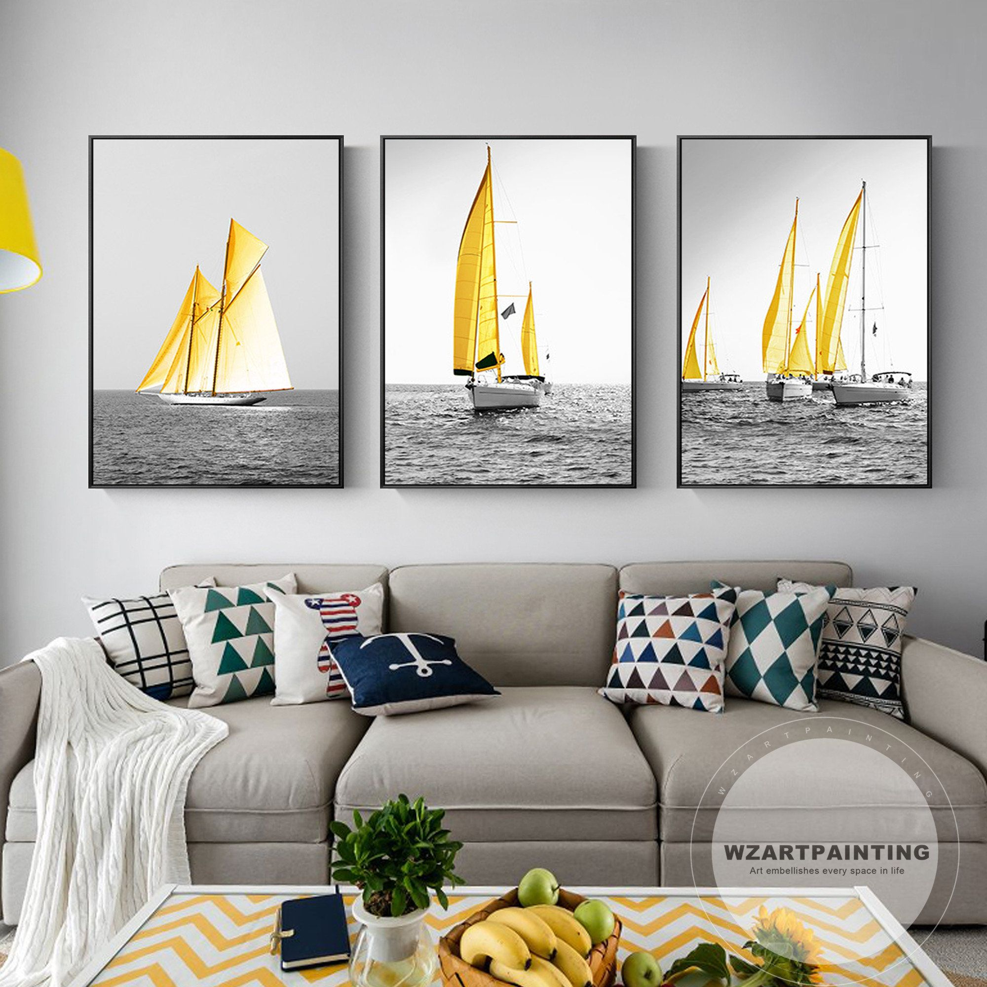 3 Piece Modern Yellow Sailboat Ocean Print Painting On Canvas Boat Friend Gifts Wall Art Pictures Quadro Pi Frames On Wall Wall Printables Framed Wall Art Sets
