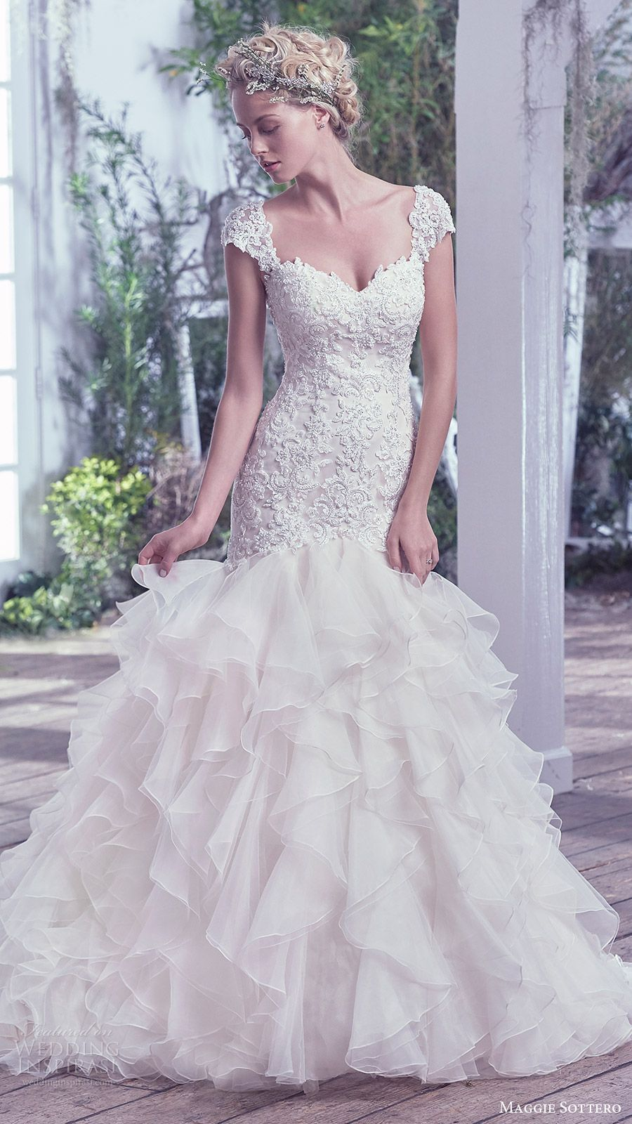 5c4329914d69 maggie sottero bridal fall 2016 cap sleeves sweetheart mermaid wedding dress  (tawny) mv ruffle skirt
