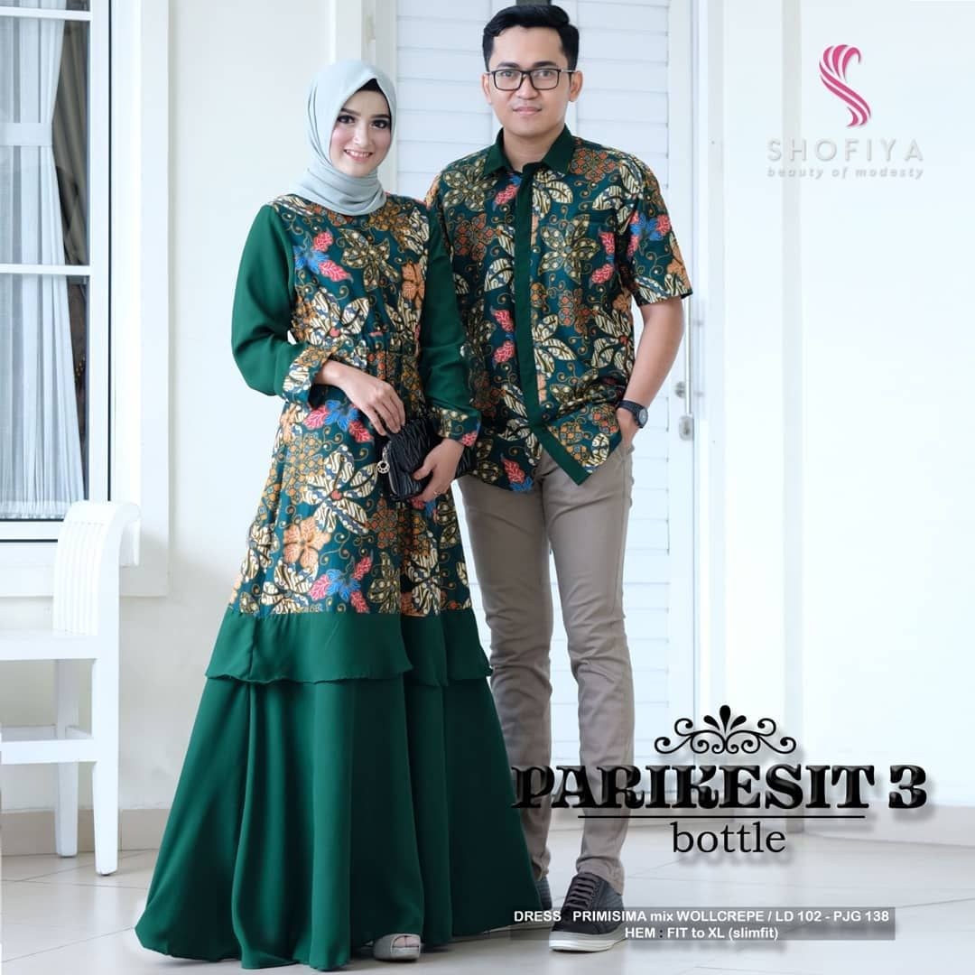 Best seller baju couple batik.. Warna hijau bottle jadi warna