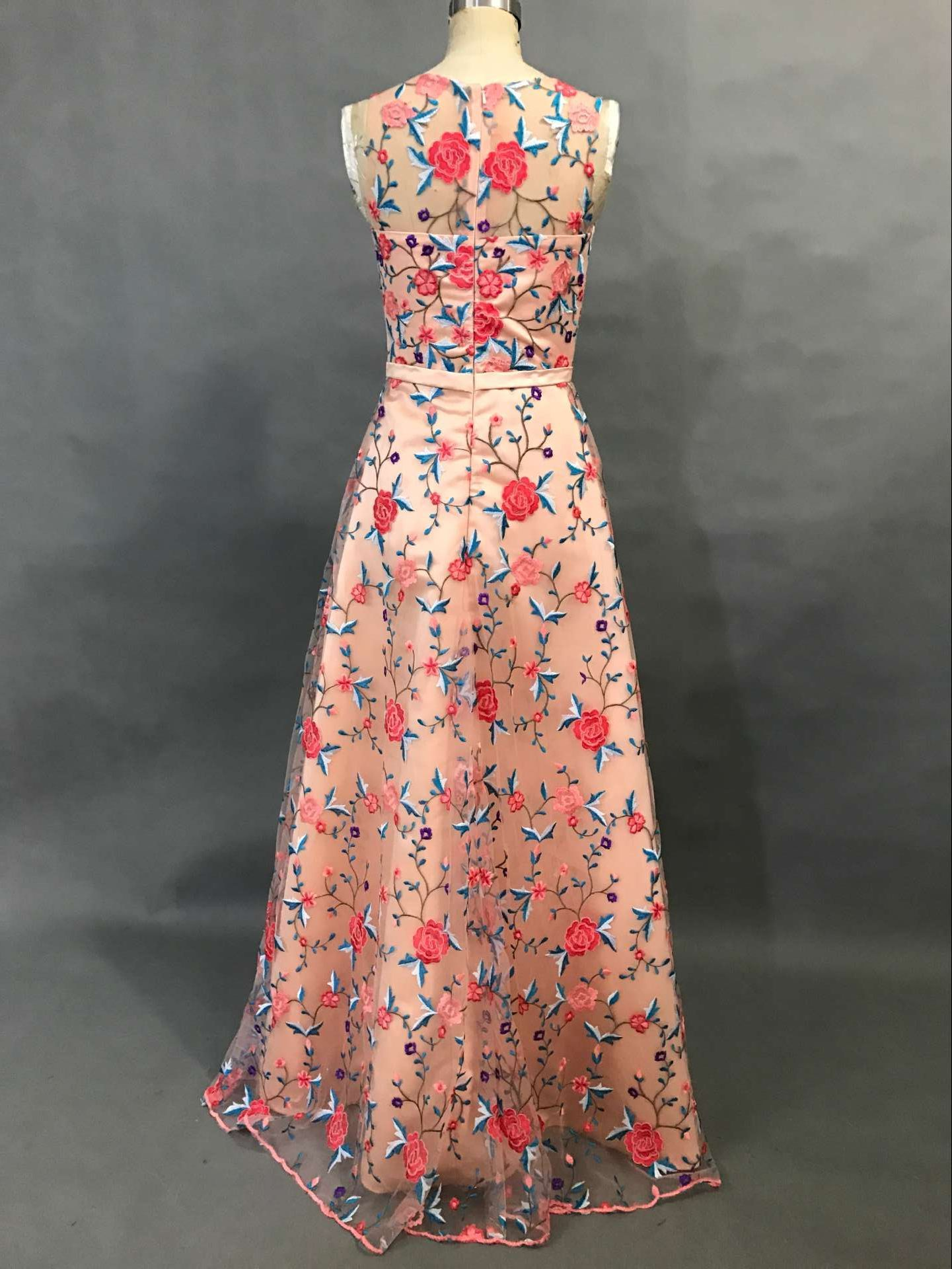 Floral embroidery long prom dress evening dress from modsele long