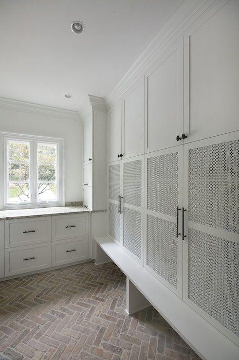 interior brick floor herringbone brick pavers laundry room laundry room ideas