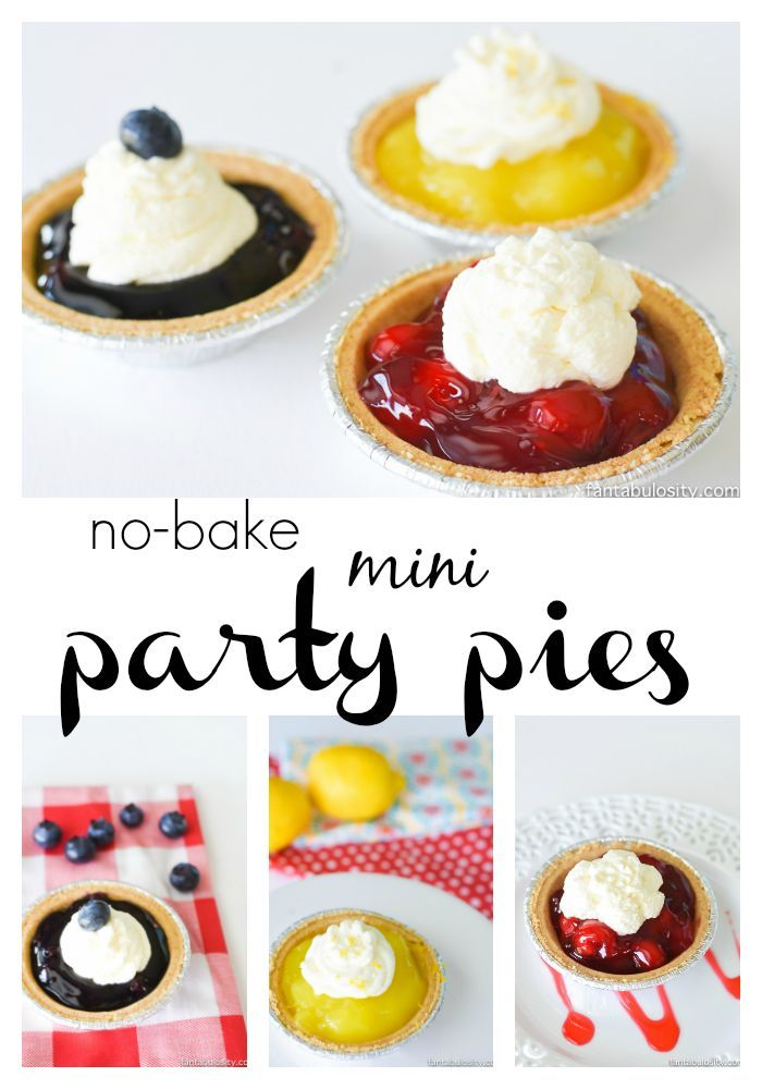 No-Bake Mini Party Pies How cute for a dessert table, and last minute!