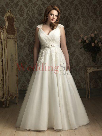 A Line Deep V Neck Chapel Train Tulle Wedding Dress 26056