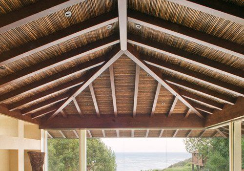 Bamboo Ceiling Get An Island Decor With Natural Bamboo Fencing Cali Bamboo Ceiling Bamboo Roof Pergola