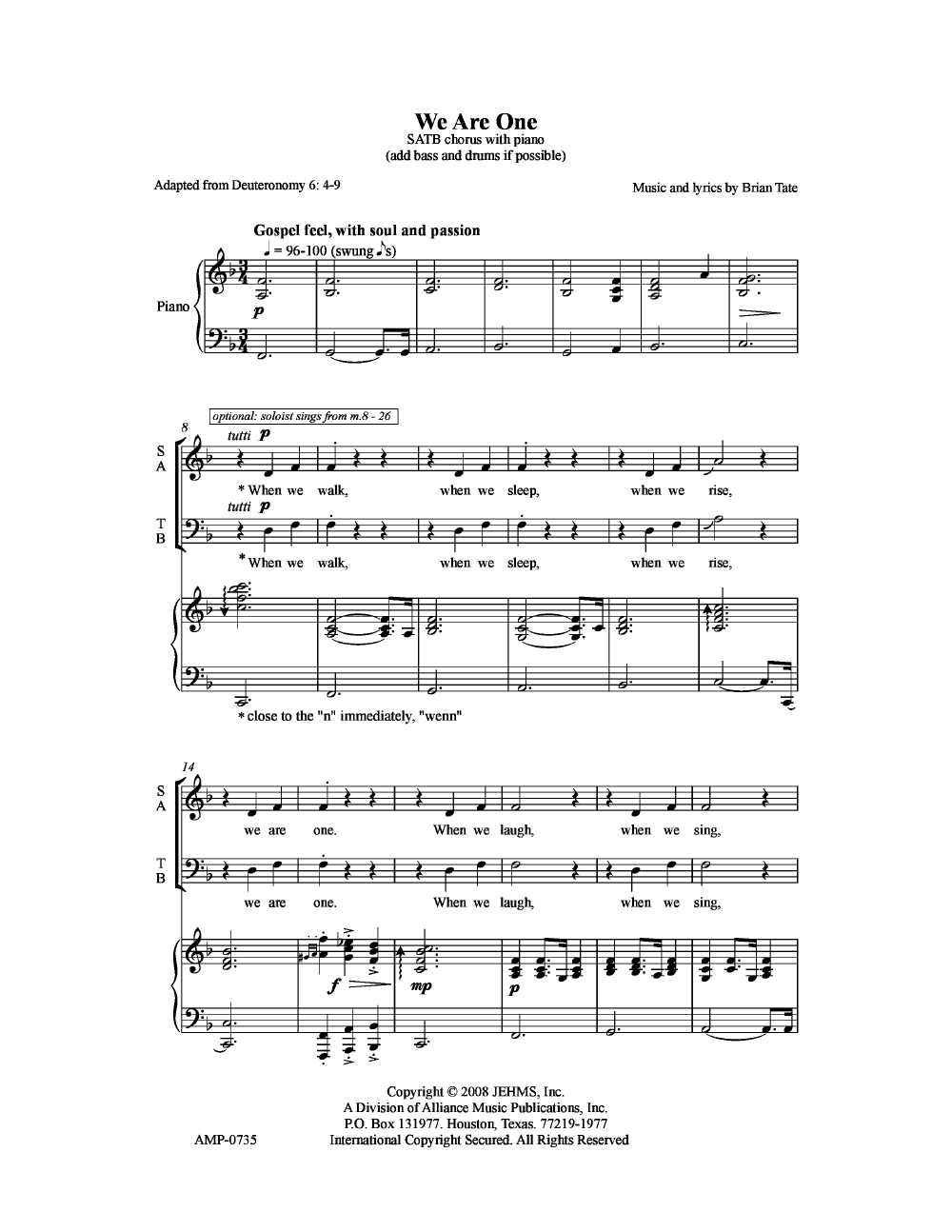 We Are One Satb By Brian Tate Choral Sheet Music Sheet Music Tate