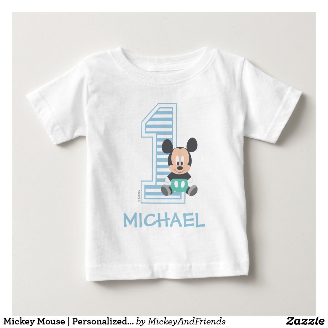 Mickey Mouse Personalized First Birthday Baby TShirt