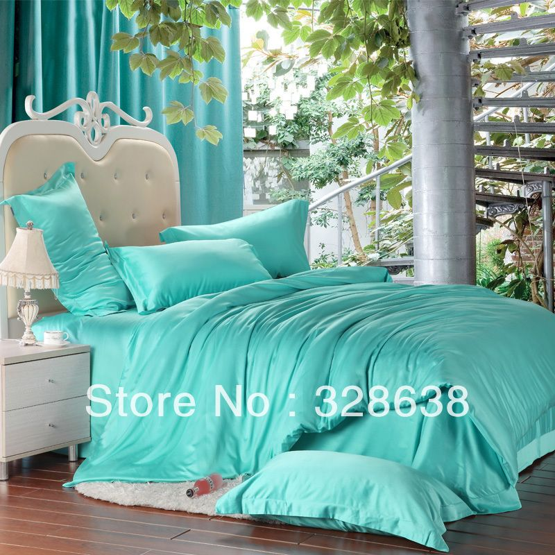 Free Shipping 4pcs Noble Tencel Bedding Set Turquoise Color Quilt Duvet Cover Bed Sheet Pillowcase Ful Turquoise Bedding Green Bedding Set Turquoise Comforter