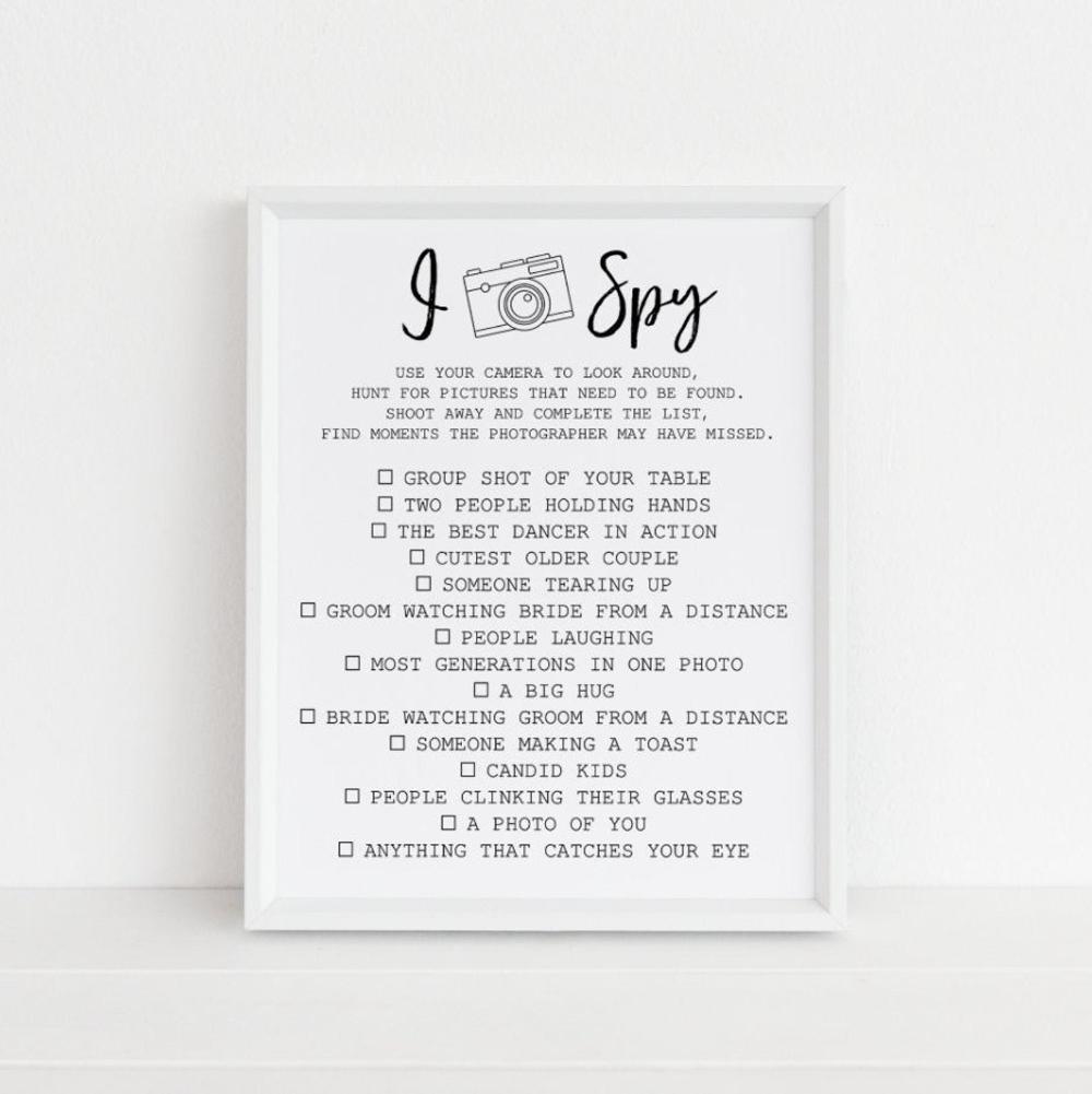 17 wedding Games i spy ideas