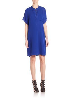 VINCE Pocketed Silk Shift Dress. #vince #cloth #dress