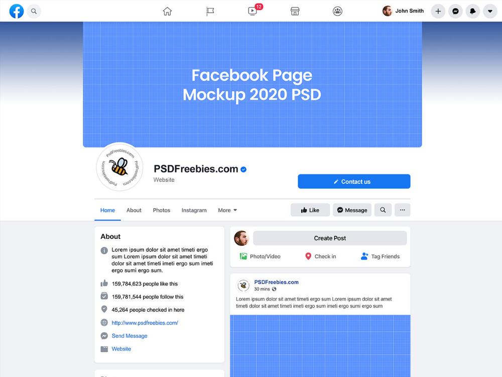 Facebook Page Mockup 2020 Psd In 2021 Facebook Page Mockup Facebook Mockup Mockup