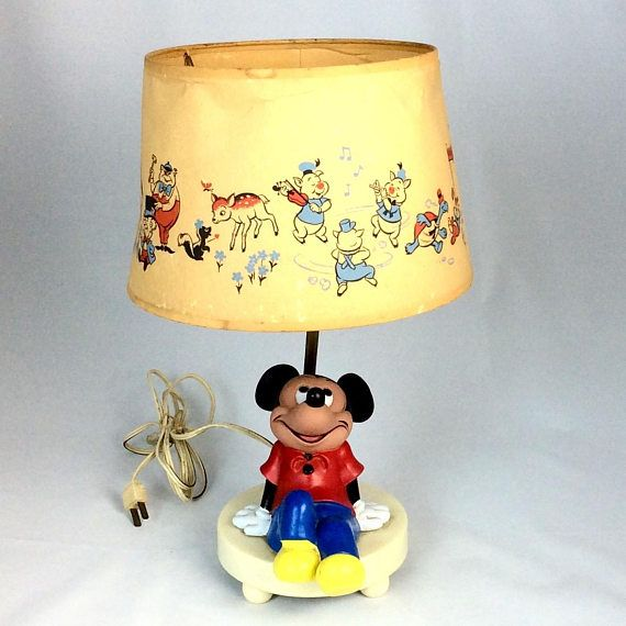 Vintage 1980s mickey mouse lamp and shade vintage lighting vintage 1970s 80s mickey mouse lamp and shade aloadofball Images