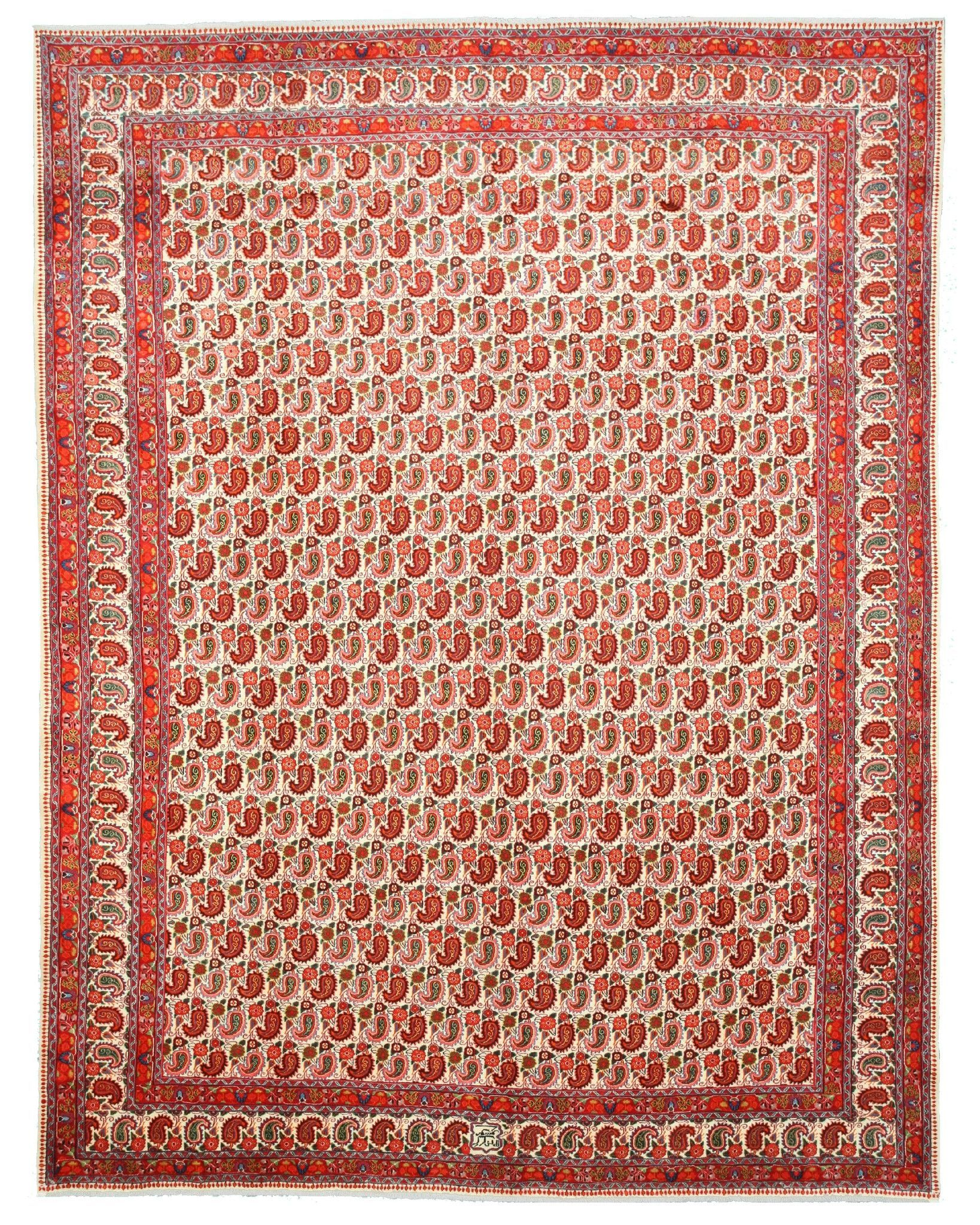 EORC X31103 Ivory Hand Knotted Wool Paisley Mood Rug (10'8 x 13'10)
