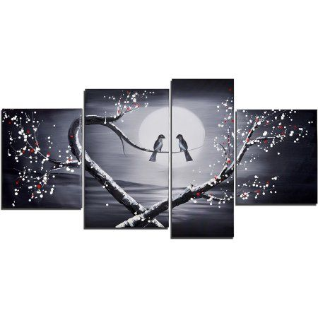 Design art love birds hand painted textured oil painting 4 pieces size 41 gray design art walmart and products