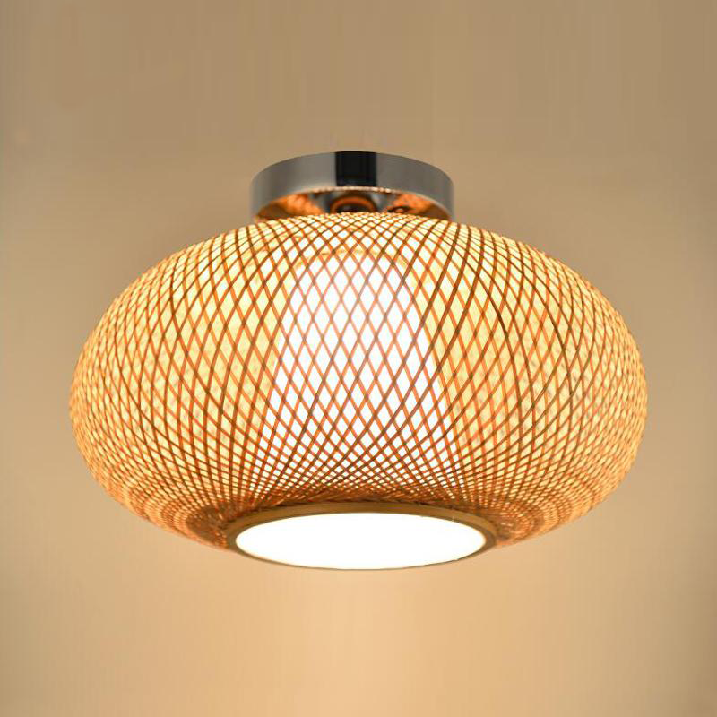 Bamboo Wicker Rattan Shade Flush Mount Ceiling Light In 2020